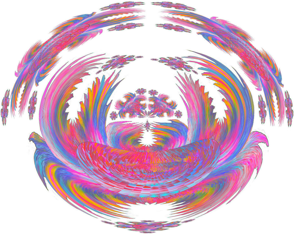 pink blue and gold ritual totem on a white background