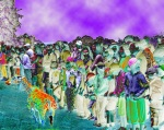 A colorful crowd of people look anywhere but at a miniature multicolored giraffe