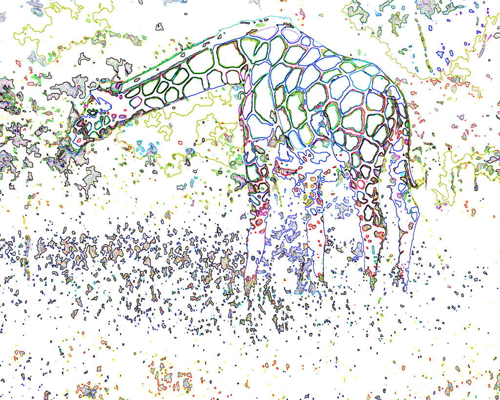 a colorful ghost giraffe nibbles ghost leaves