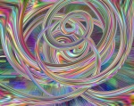 Intense rainbow colored loops and swirls