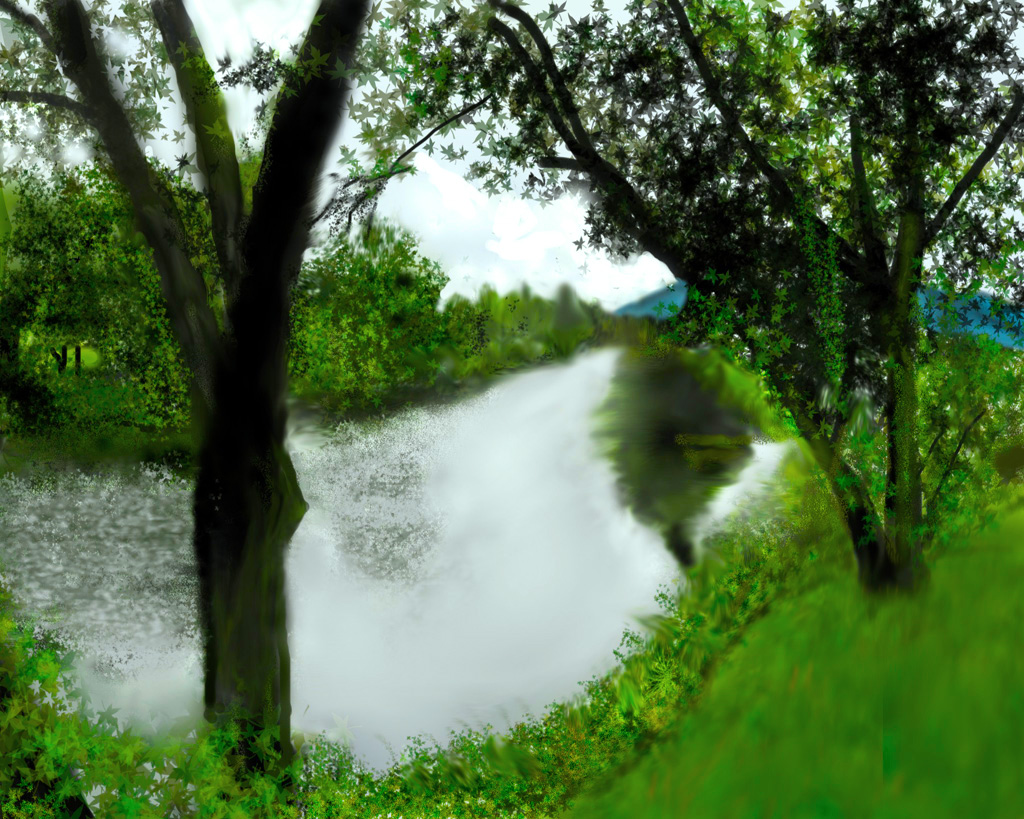 Digital painting of a lazy river in New Hampshire under a darkening sky