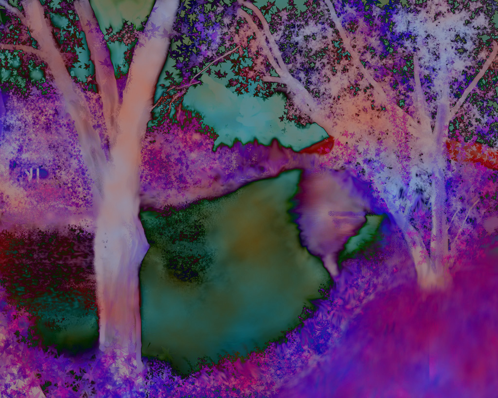 Digital painting of a lazy river in New Hampshire and not in Kansas has taken on deeper colors and a new meaning