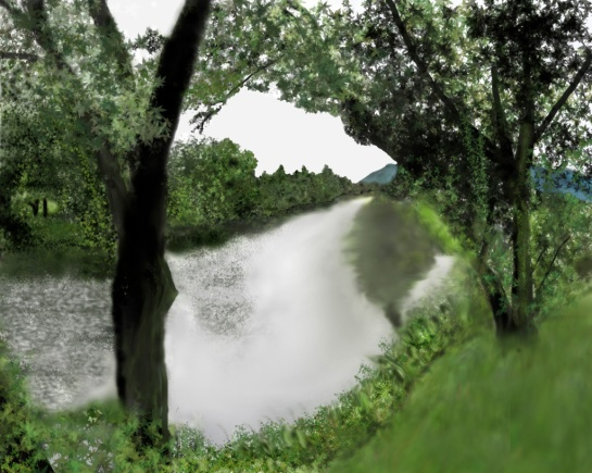 Digital painting of a lazy river in New Hampshire