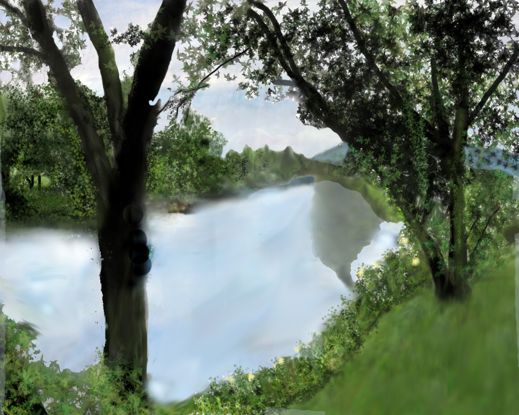 Digital painting of a lazy river in New Hampshire under a cloudy sky