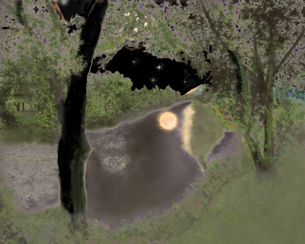 Digital painting of a lazy river in New Hampshire on a moonlit night