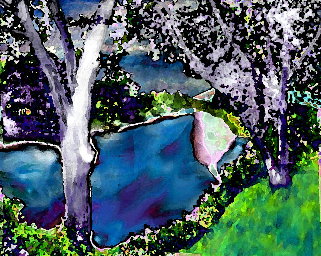 Digital painting of a lazy river in New Hampshire where the water's blue and the grass' green are too intense to be our reality